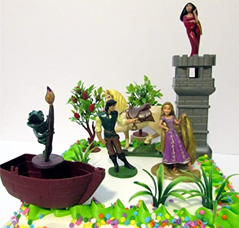 Tangled Birthday Cake Topper Set Featuring Pascal Rapunzel Mother Gothel Flynn Rider