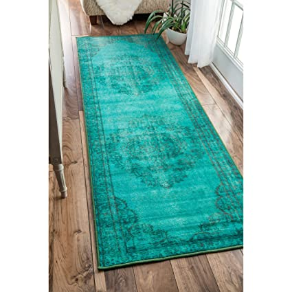 13f36522151881 Image Unavailable. Image not available for. Color: Vintage Inspired Fancy  Medallion Overdyed Runner Area Rug