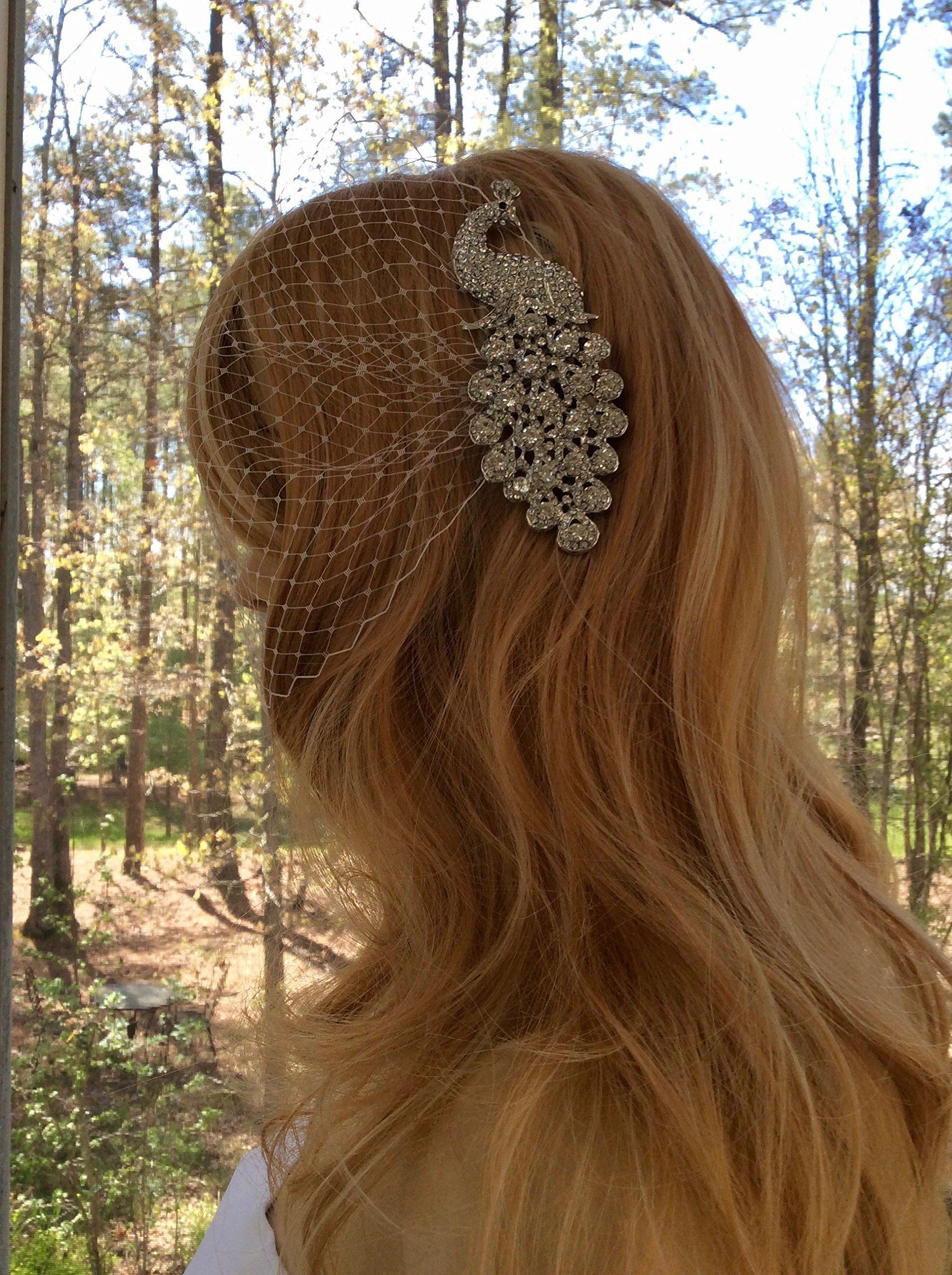 Bridal Headpiece, Wedding Bandeau Veil, Bridal Birdcage Veil