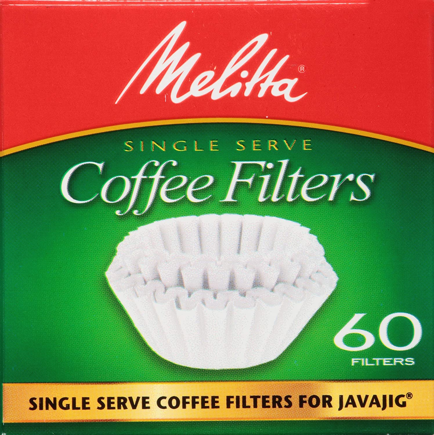 Melitta JavaJig Replacement Single-Serve Paper Coffee Filters, White, 60 Count