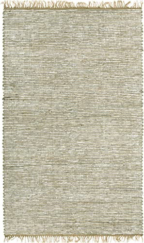 Matador Leather and Hemp Rug, 5 by 8-Feet, White