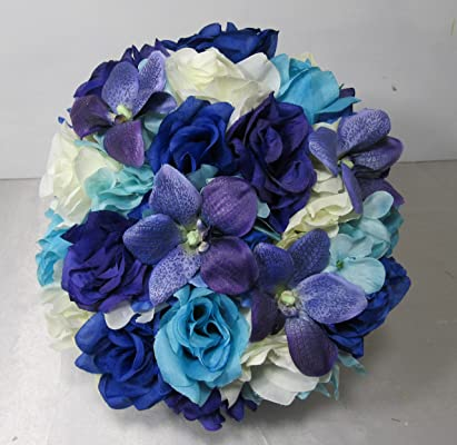 Royal Blue Purple Ivory Rose Orchid Bridal Wedding Bouquet & Boutonniere