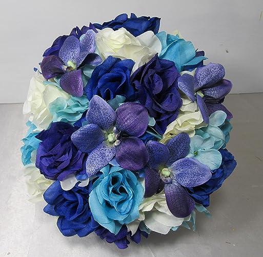 Amazon.com: Royal Blue Purple Ivory Rose Orchid Bridal Wedding ...