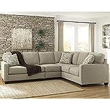 Flash Furniture Signature Design by Ashley Alenya 3-Piece RAF Sofa Sectional in Quartz Microfiber