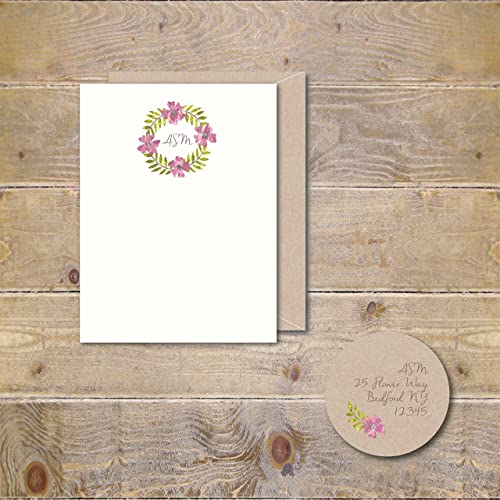 Amazon a watercolor wreath personalized stationery stationery a watercolor wreath personalized stationery stationery note cards business professional greeting card thank you watercolor monogram reheart Images