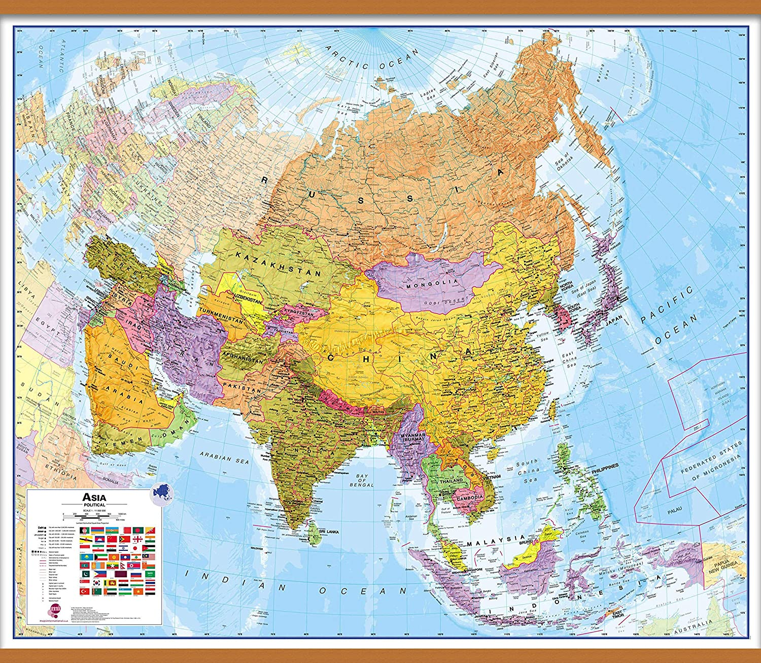 Maps International Large Political Asia Wall Map - Laminated - 47 x 39