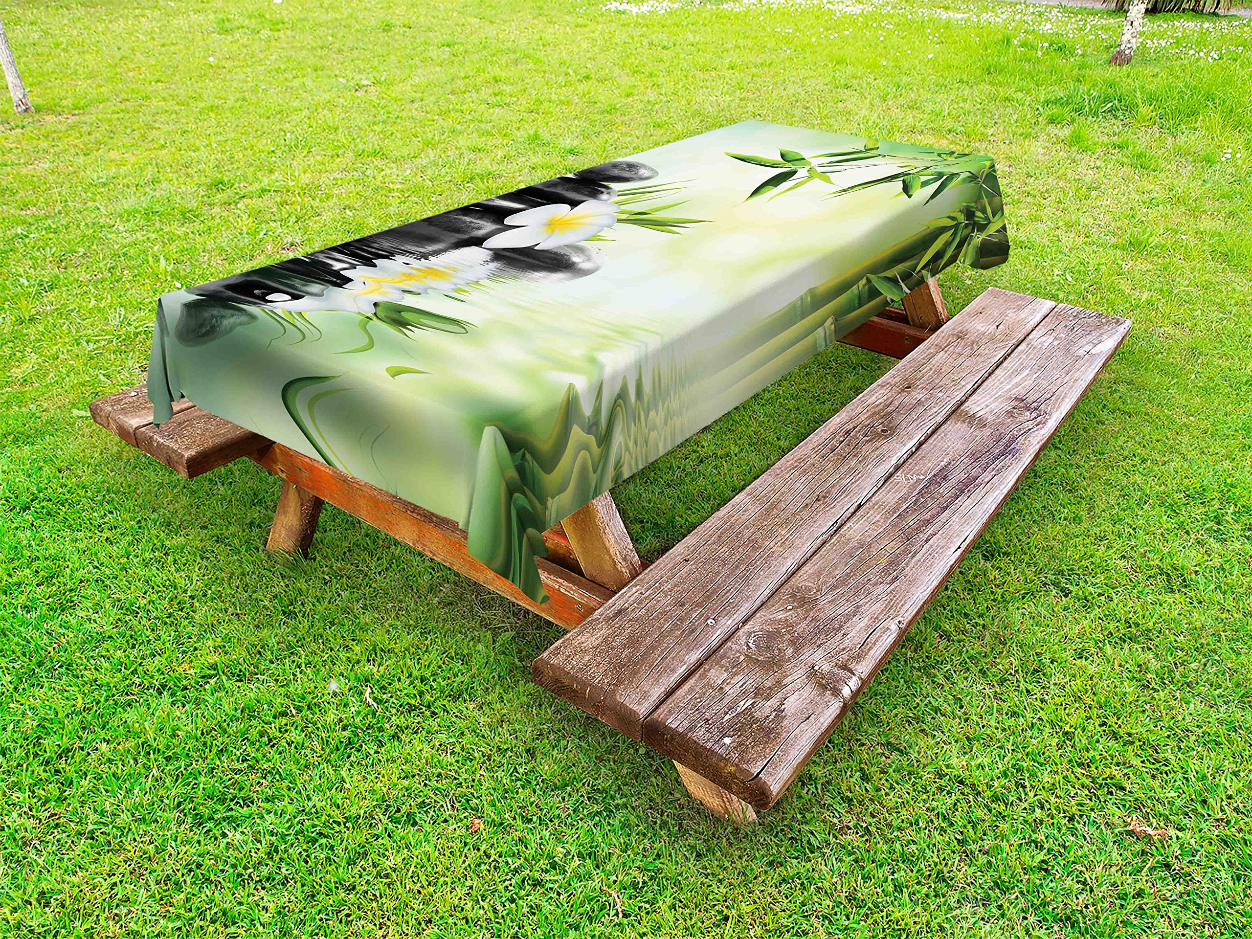 Ambesonne Spa Outdoor Tablecloth, Garden with Frangipani Bamboo Japanese Relaxation Resting Travel, Decorative Washable Picnic Table Cloth, 58 X 84 Inches, Pale Green Charcoal Grey Yellow