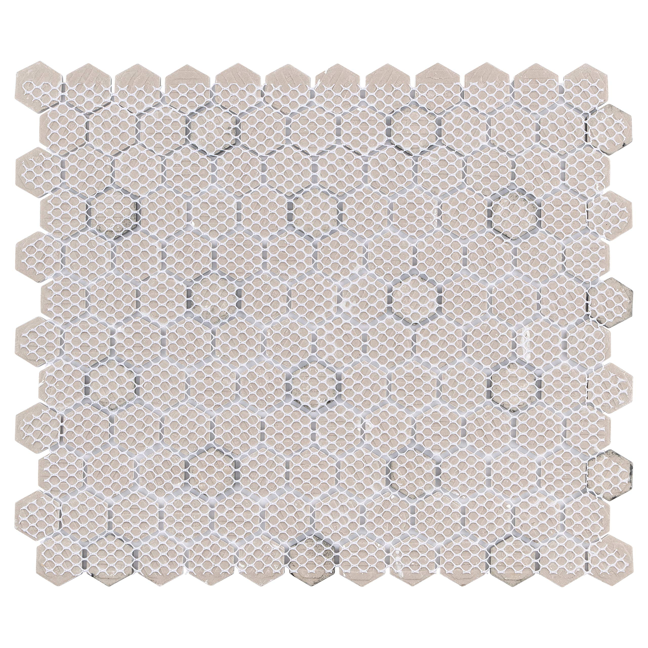 SomerTile FXLMHWBD Retro Hexagon Porcelain Mosaic Floor and Wall Tile, 10.25'' x 11.75'', White with Black Dot by SOMERTILE (Image #3)
