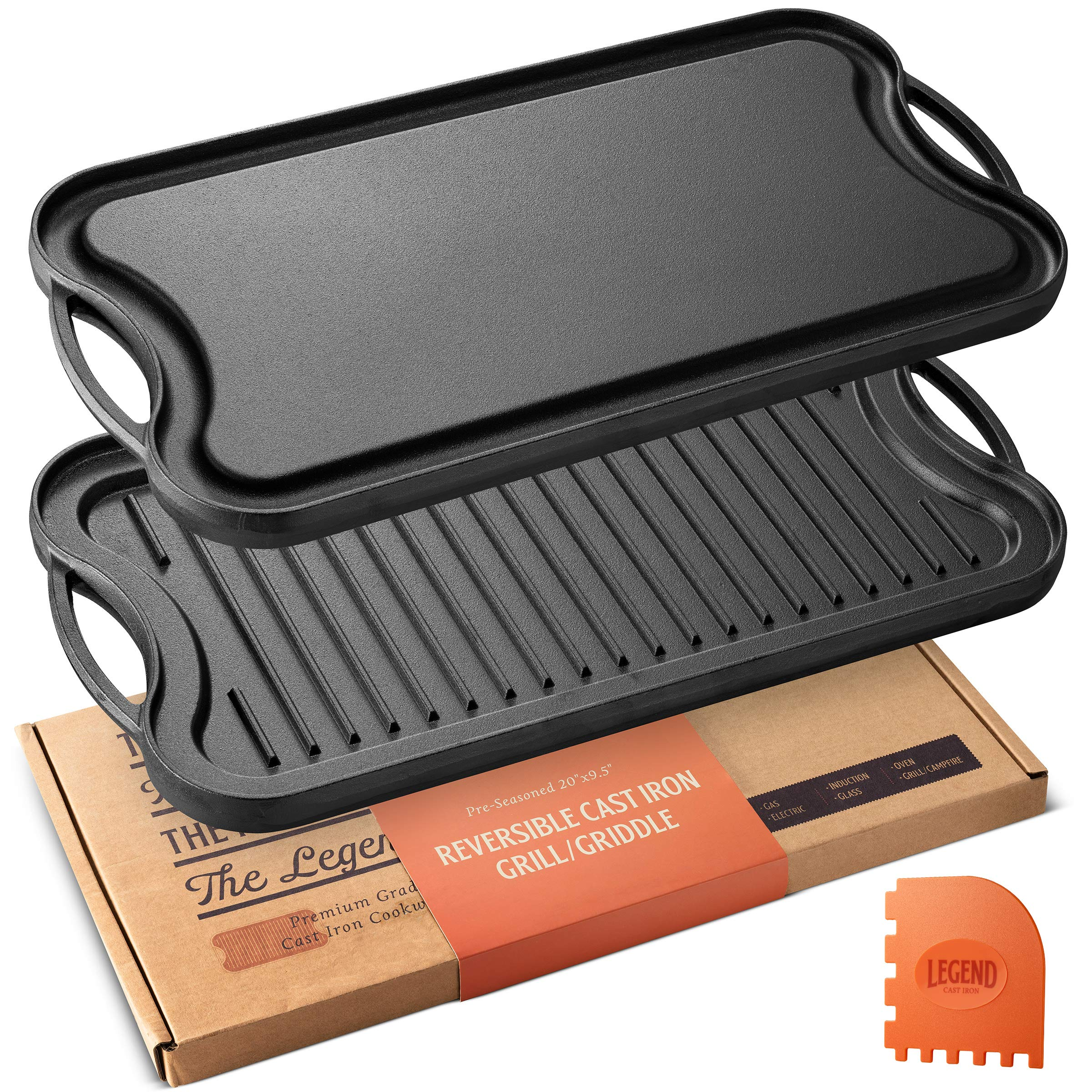 Legend Cast Iron Griddle for Gas Stovetop | 2-in-1 Reversible 20'' Cast Iron Grill Pan For Stovetop with Easy Grip Handles | Use On Open Fire & In Oven | Lightly Pre-Seasoned Gets Better with Each Use by Legend Cast Iron
