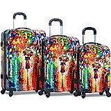 Dejuno Women's 3-Piece Lightweight Hardside Spinner Upright Luggage Set, Parisian Nights, One Size