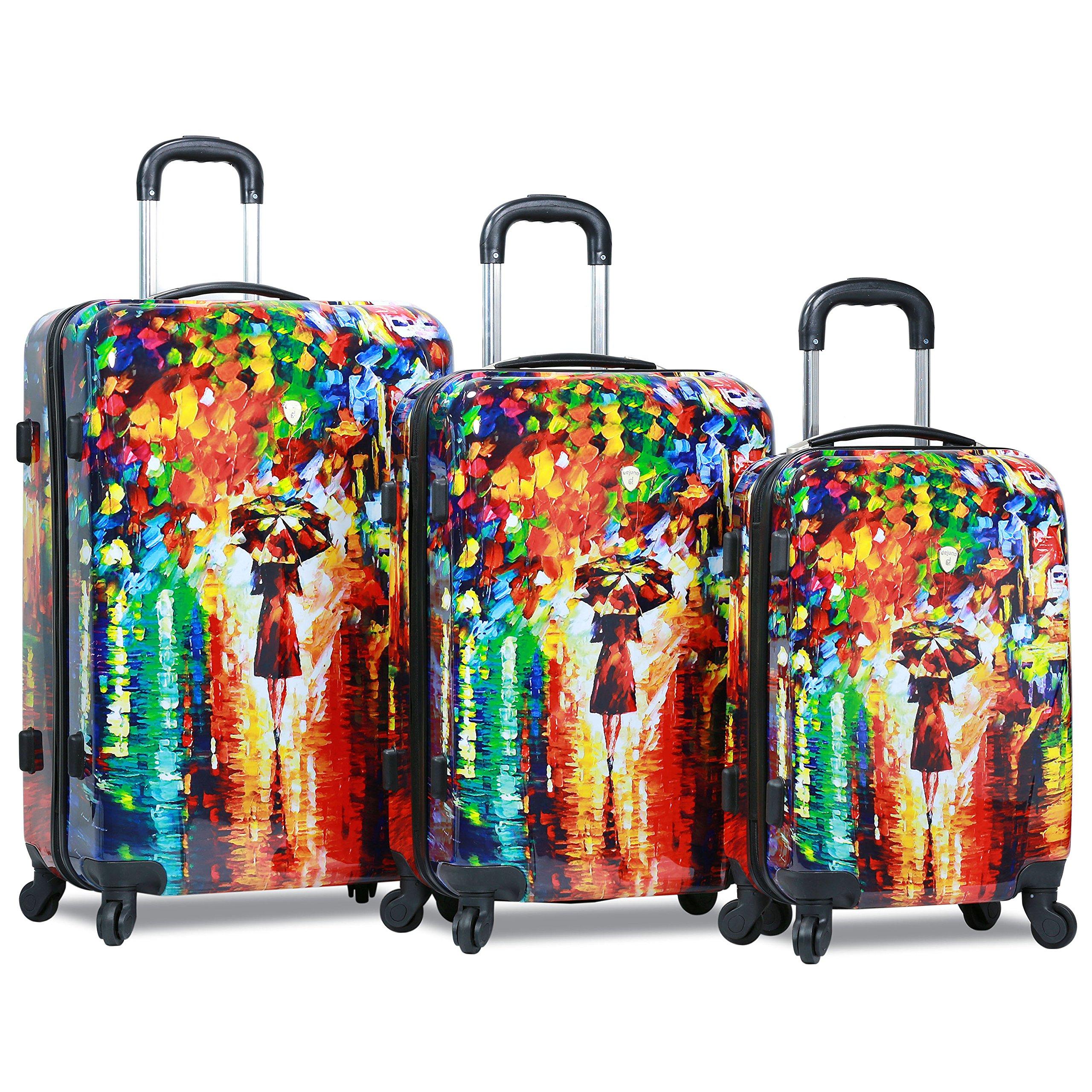 Dejuno 3-Piece Lightweight Hardside Spinner Upright Luggage Set, Parisian Nights