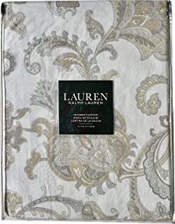 Shower Curtain Lauren By Ralph Bashna Paisley Grey Taupe Beige Bone Designer Cotton Fabric