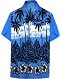 La Leela Men's Hibiscus Palm Tree Aloha Hawaiian Short Sleeves Button Down Hawaiian Shirt