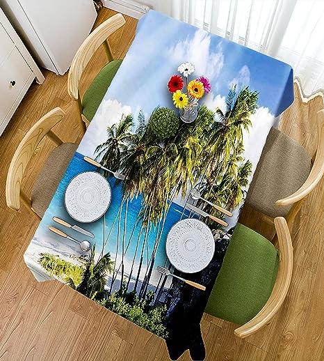 HAIXIA Mantel decorativo con diseño de isla caribeña con palmera y ...