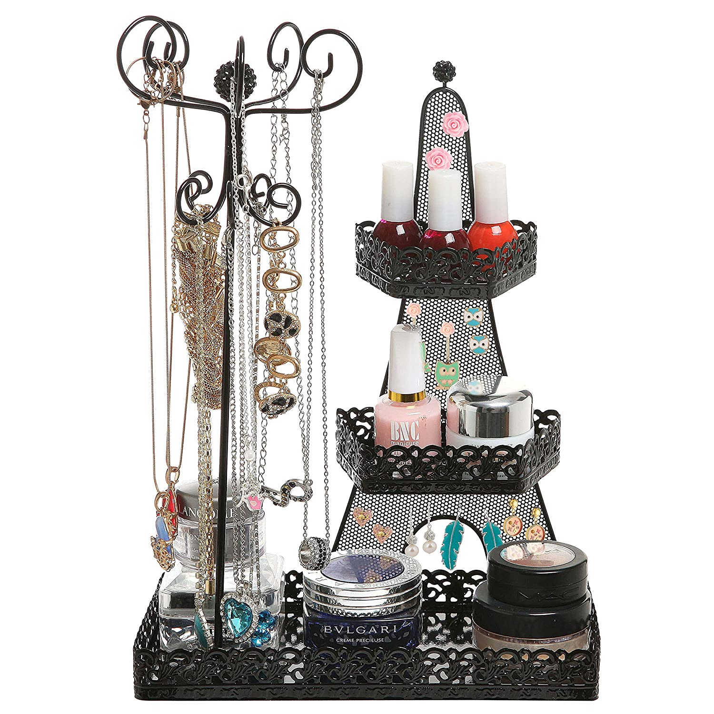3 Tier Black Metal Makeup Organizer Rack / Necklace Jewelry Hanger / Nail Polish Display Stand - MyGift