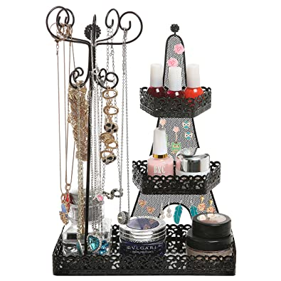 Amazoncom 3 Tier Black Metal Makeup Organizer Rack Necklace