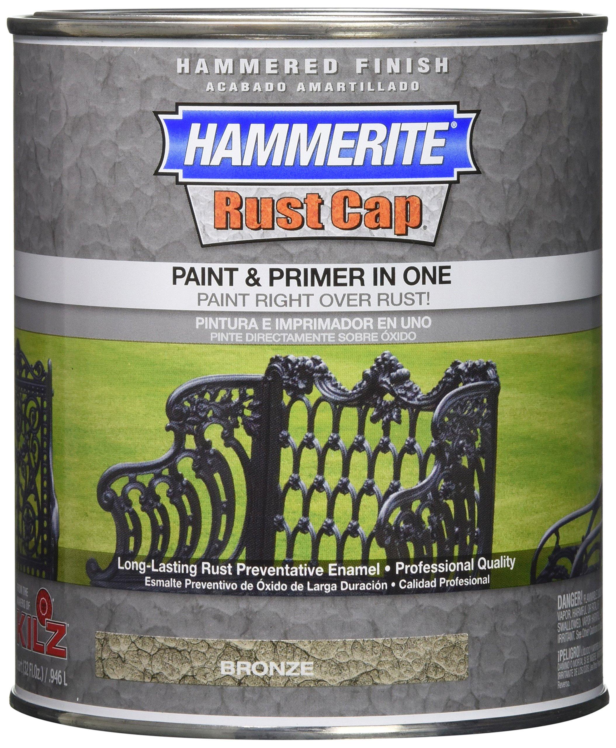 Masterchem 43185 Hammerite Rust Cap Hammered Bronze Enamel Paint, Quart