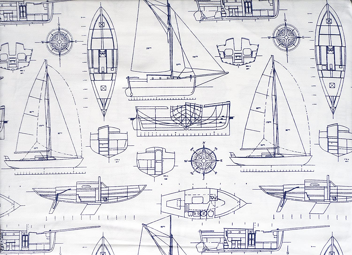 Boats Ships Yachts Diagrams Drawings Blue on White Max Studio Kids 4 Piece Full Size Cotton Sheet Set