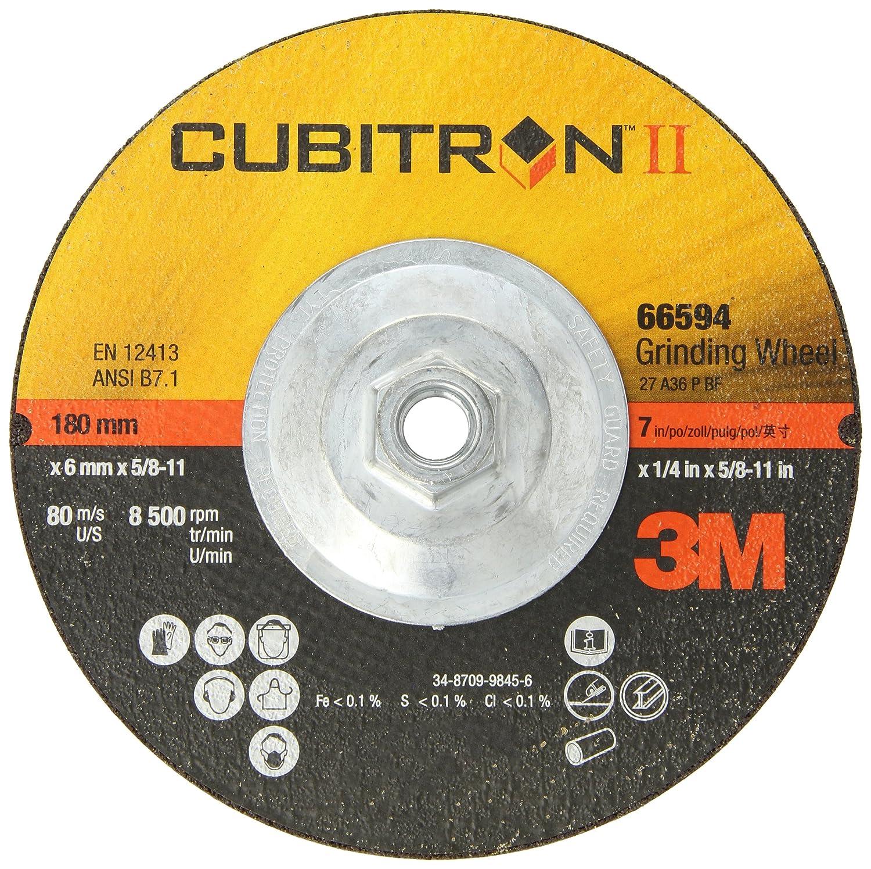 """3M Cubitron II Depressed Center Grinding Wheel T27 Quick Change, Ceramic Grain, 7"""" Diameter x 0.25"""" Thick, 36 Grit, 5/8""""-11 Arbor (Pack of 1)"""