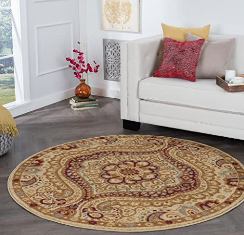 Yvonne Transitional Paisley Ivory Round Area Rug
