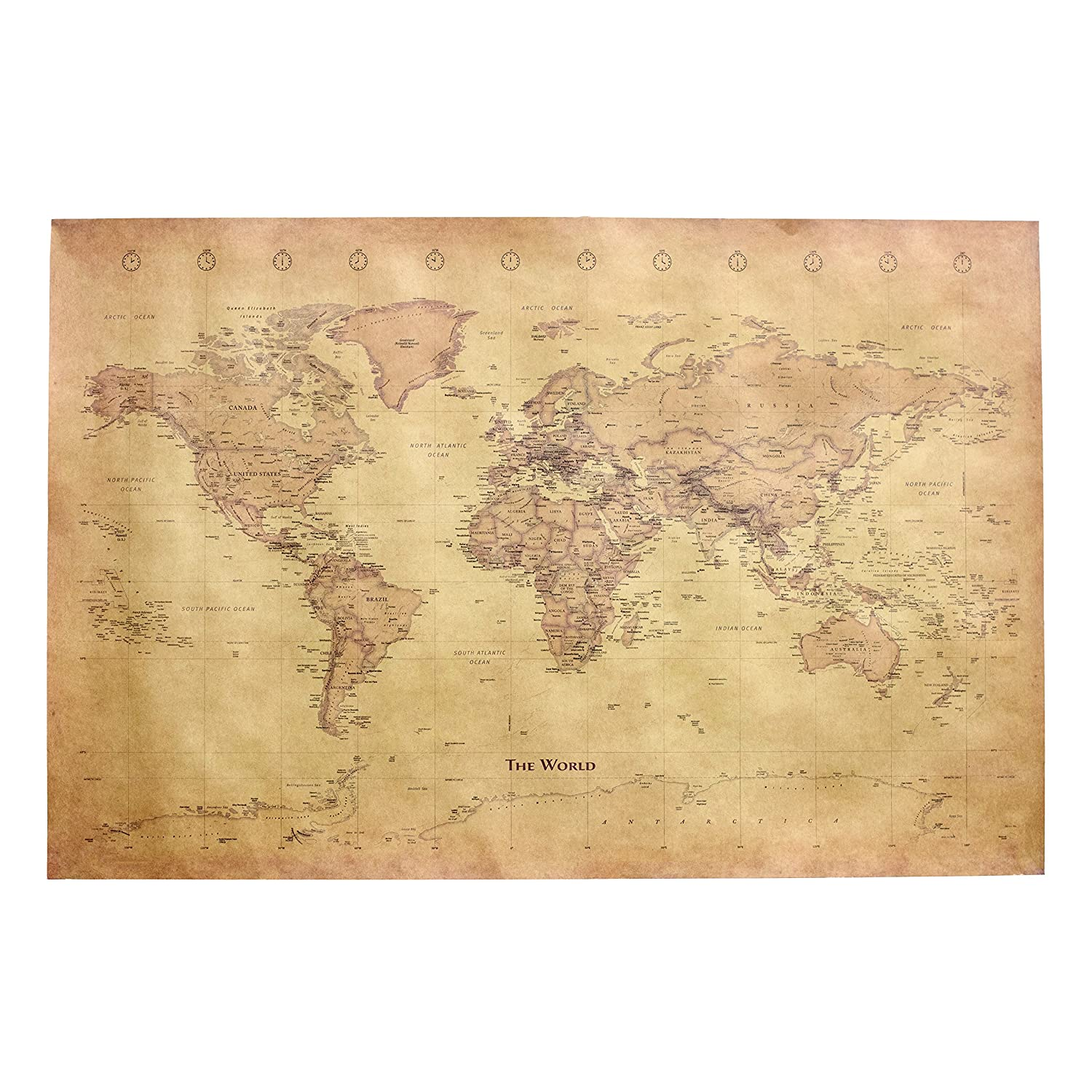 Decorative World Map Poster.Amazon Com Home Office Wall Decorative Poster Vintage Style
