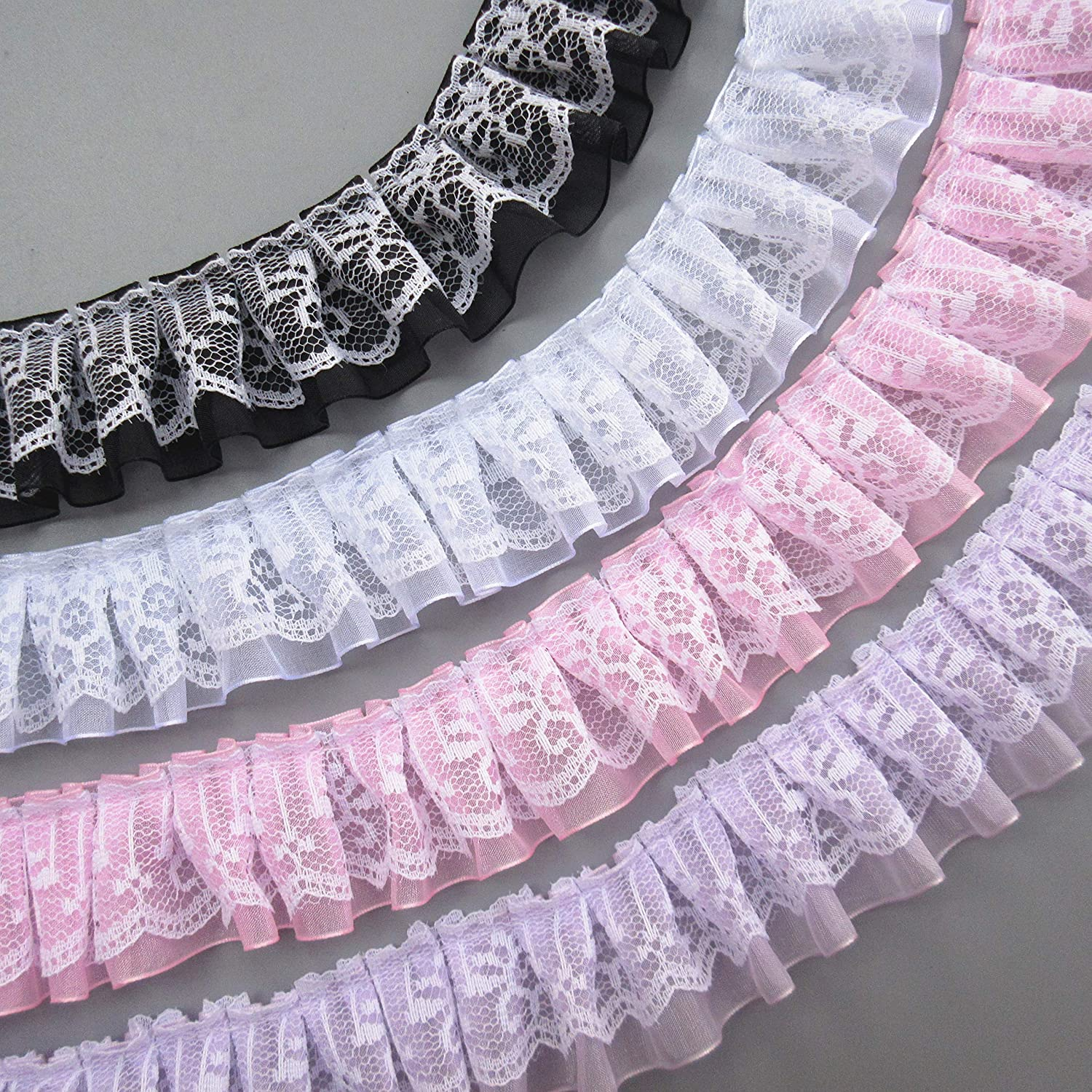 White 10 Yard Pleated Organza Lace Edge Trim Ribbon 1-1//2 inch Wide Assorted Colors Trimming Ruffle Fabric Embroidered Sewing Craft Wedding Bridal Dress Party Decoration Clothes Embellishment