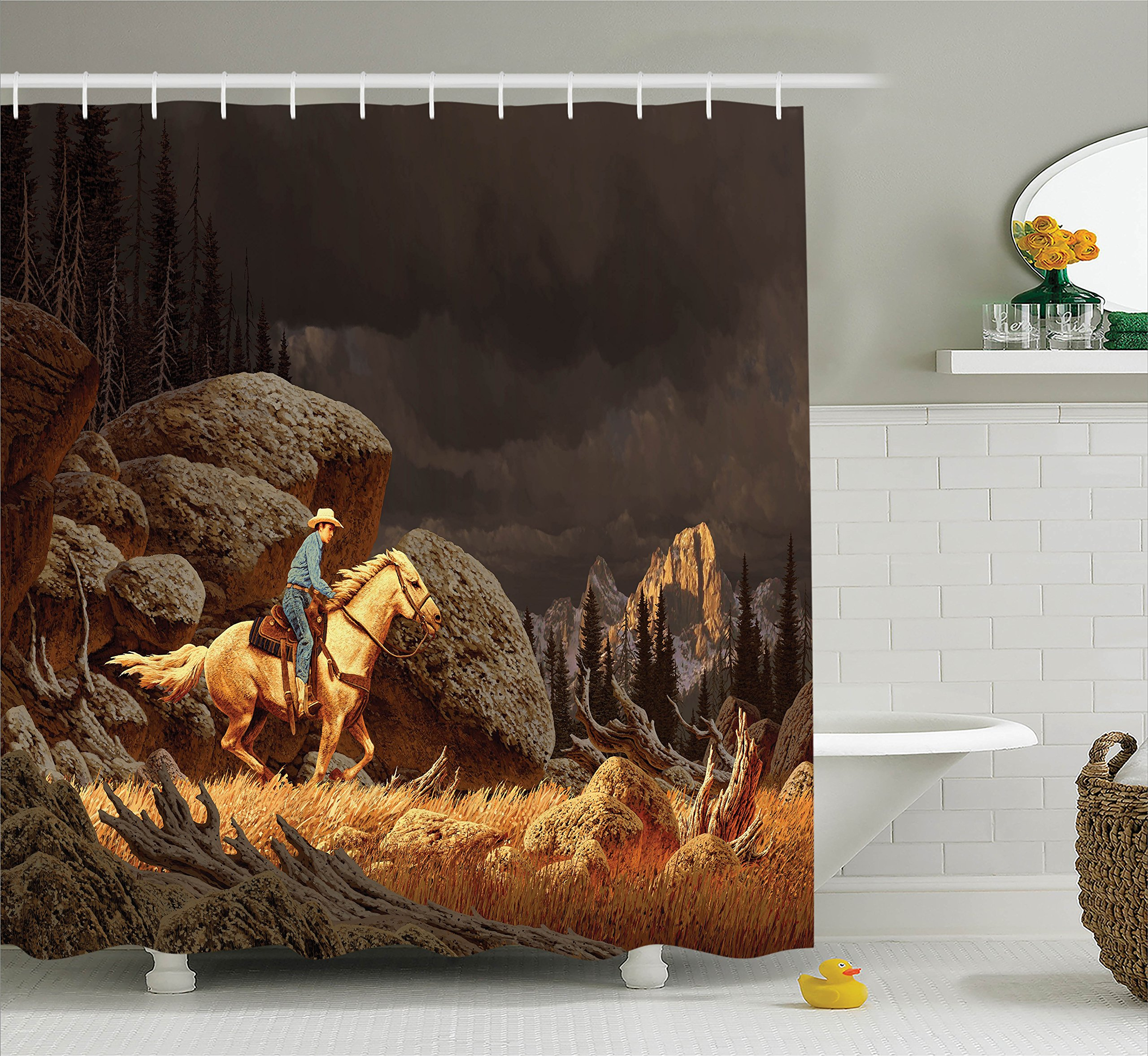 Ambesonne Western Shower Curtain, A Rock Mountain Landscape with a Cowboy Riding Horse North America Style, Fabric Bathroom Decor Set with Hooks, 70 Inches, Earth Yellow Grey