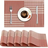 HOKIPO® PVC Vinyl Washable Table Mats for Dining Table - 45x30 cm Placemats Set of 6, Red (AR874)