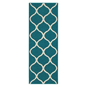 Maples Rugs Runner Rug - Rebecca 1'9 x 5' Non Skid Hallway Carpet Entry Rugs Runners [Made in USA] for Kitchen and Entryway, Teal/Sand