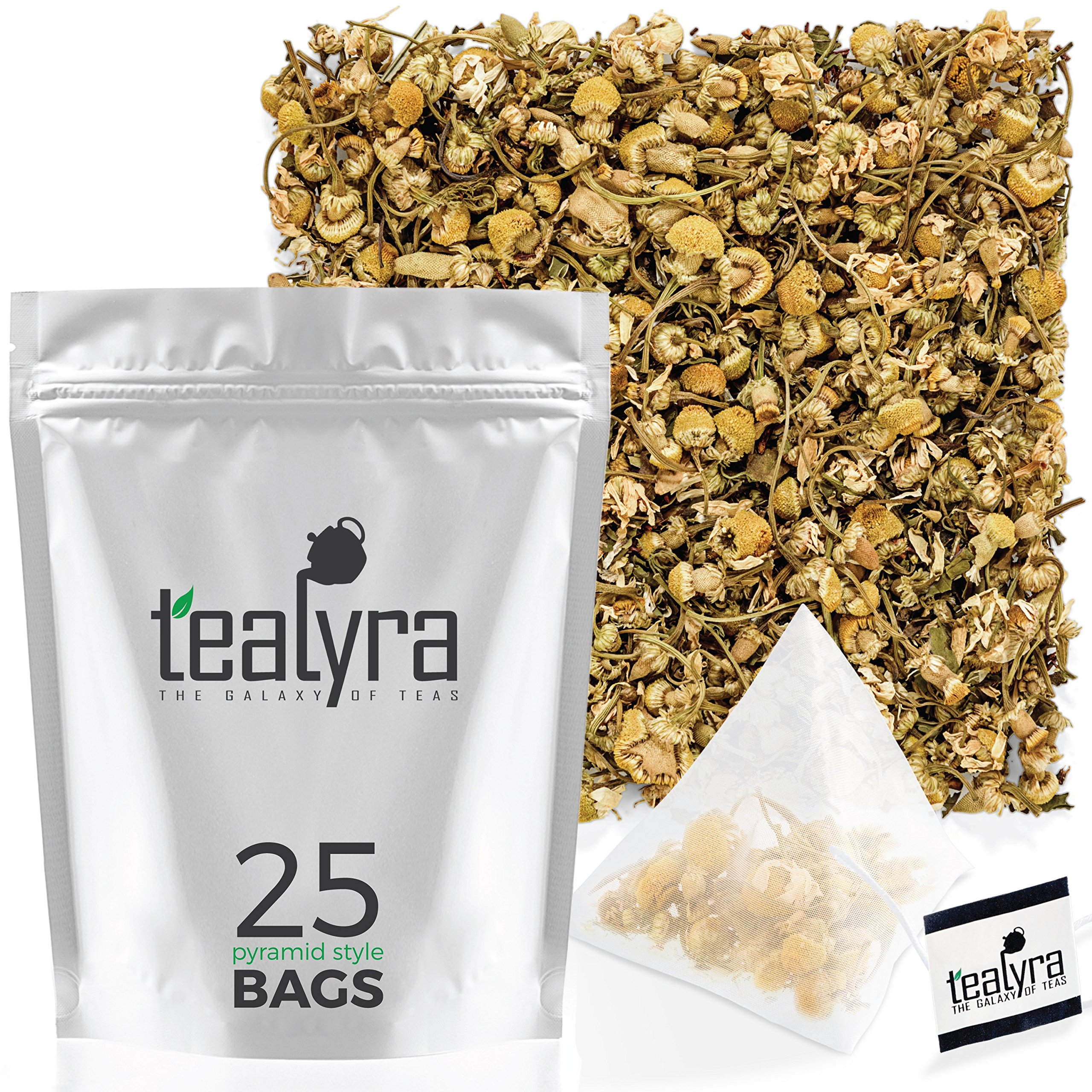 Tealyra - Lovely Night - 25 Bags - Chamomile Rooibos Mint - Calming & Relaxing - Herbal Loose Leaf Tea - Antioxidants Rich - All Natural Ingredients - Caffeine-Free - Pyramids Style Sachets by Tealyra