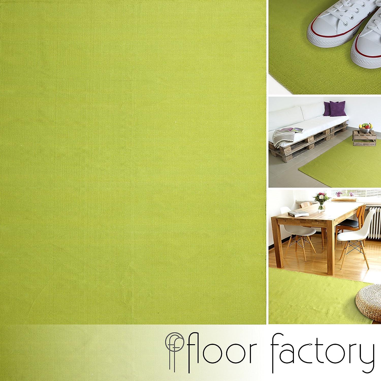 floor factory Moderner Baumwoll Teppich Living orange 80x150cm waschbarer Webteppich aus 100/% Baumwolle
