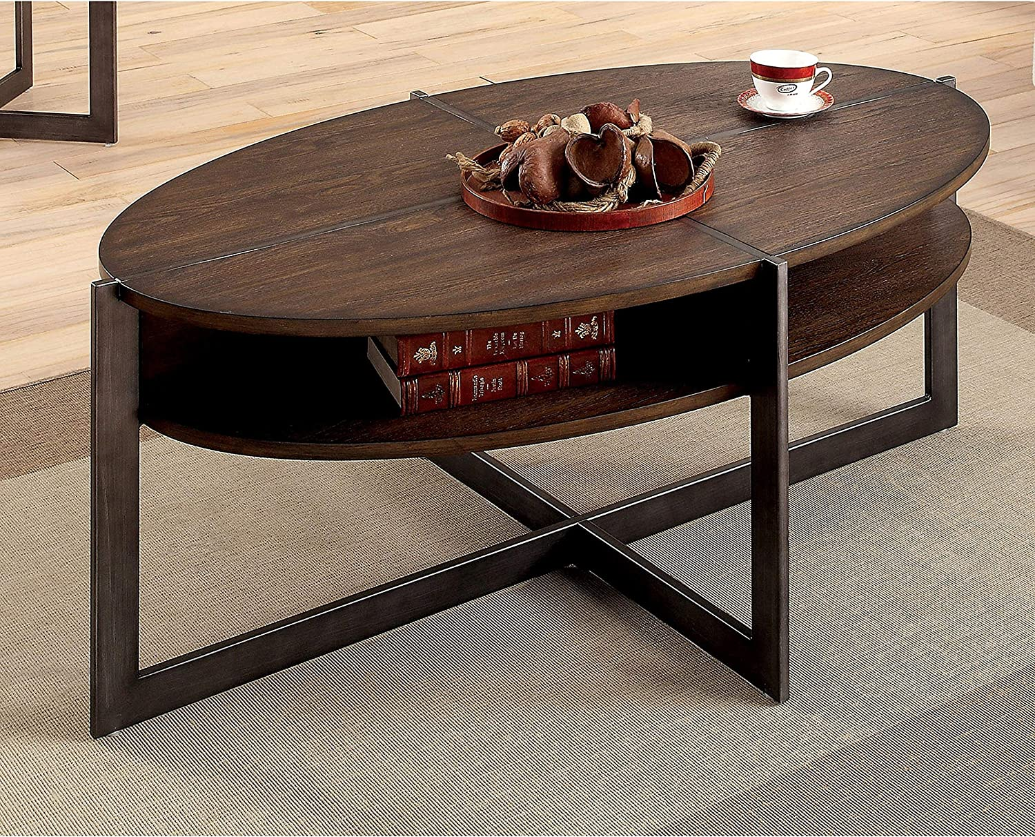Amazon Com Furniture Of America Bethel Rustic Open Shelf Oval