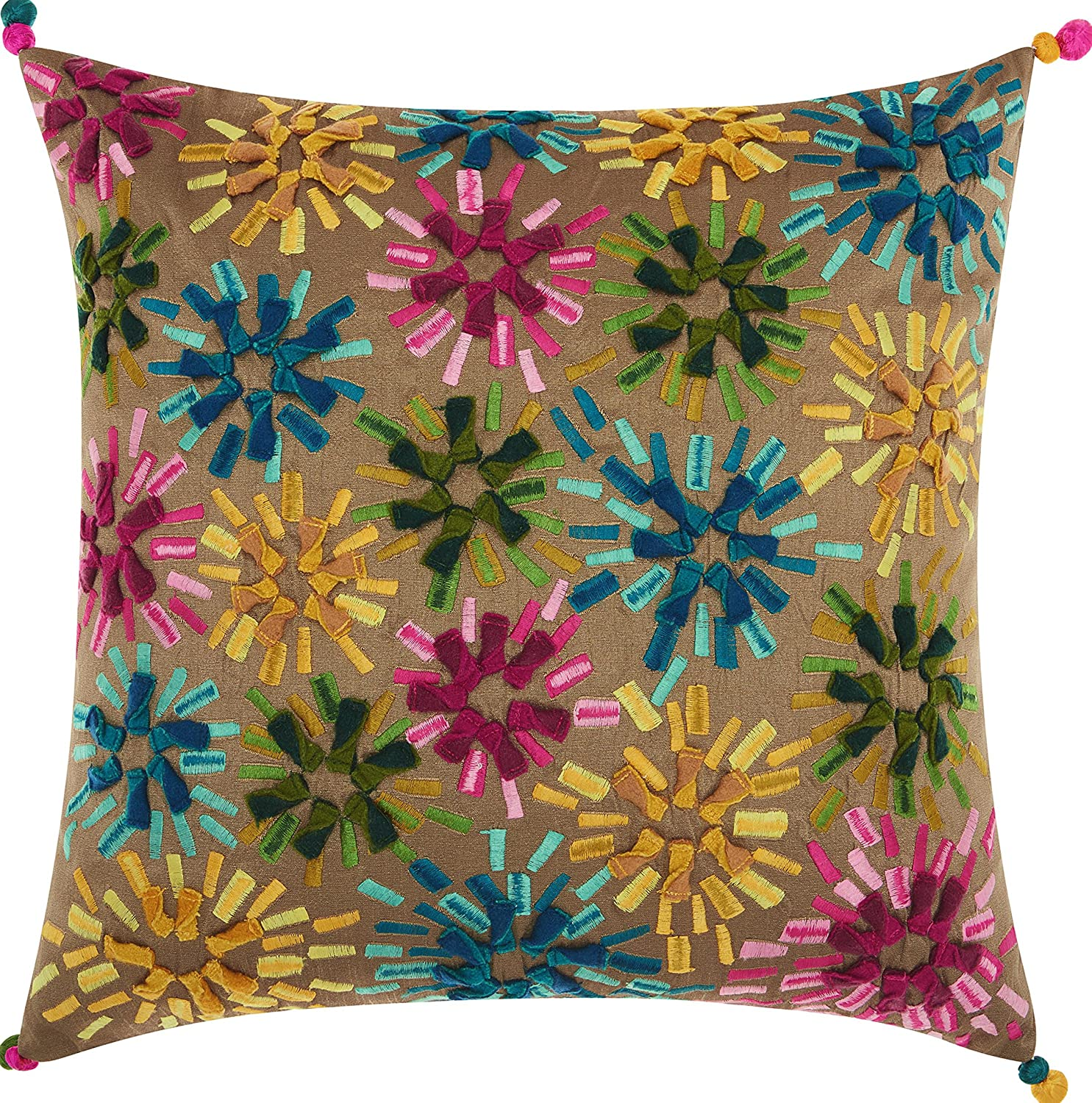 Amazon Com Nourison Mina Victory Cm053 Allegria Star Burst Throw Pillow 18 X 18 Multicolor Home Kitchen