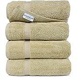 SALBAKOS Luxury Hotel & Spa Turkish Cotton 4-Piece Eco-Friendly Bath Towel Set 27 x 54 Inch, Taupe