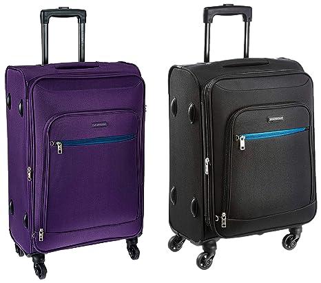 Buy Aristocrat Nile Polyester 66 cms Purple Suitcase + Nile