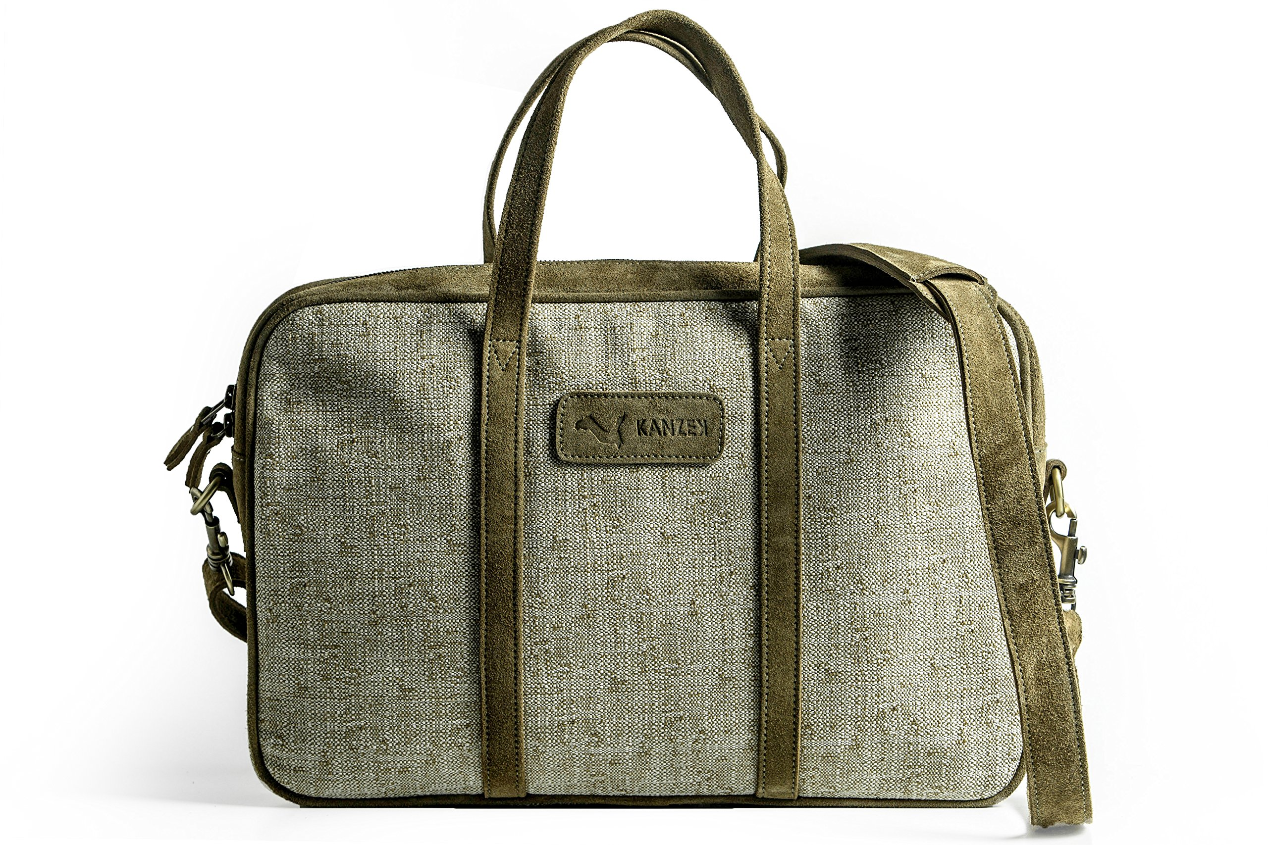 KANZEK Khaki Leather and Canvas Laptop Messenger Briefcase/Shoulder Bag, 15.6'' Computers, Light and Professional. Premium Materials and Design, Luxury Metal Zippers - Men's and Women's