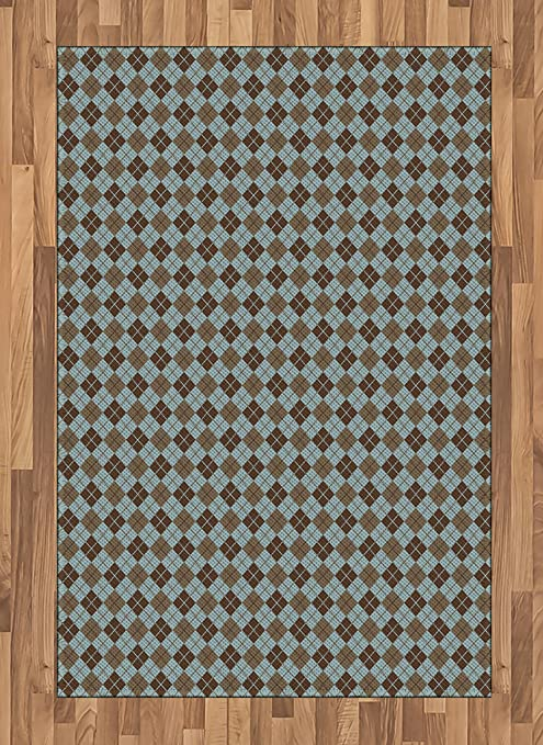Ambesonne Brown And Blue Area Rug Argyle Pattern With Diamond Shaped Rectangles Lines Abstract Geometric Flat Woven Accent Rug For Living Room Bedroom Dining Room 4 X 5 7 Bluegrey Brown Kitchen