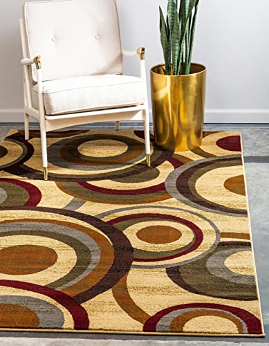 Unique Loom Barista Collection Modern Circles Contemporary Beige Area Rug 8' 0 x 10' 0