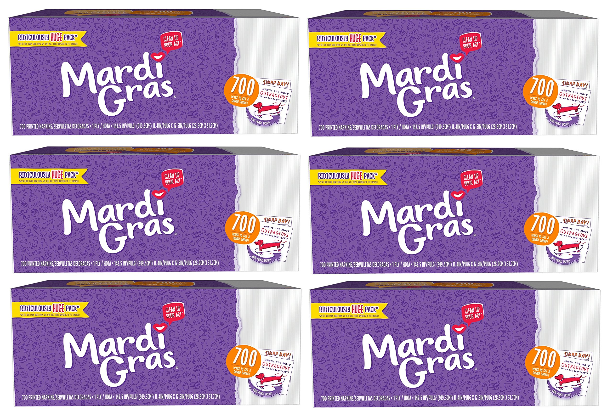 Mardi Gras Napkins 700ct with Conversation Starter Prints! (Pack of 6) Made in USA