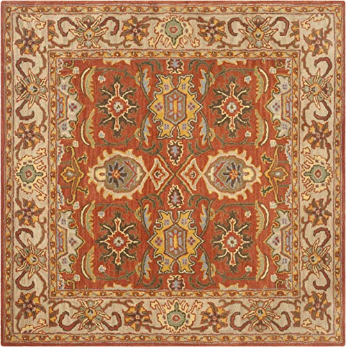 Safavieh Heritage Collection HG734D Handcrafted Traditional Oriental Rust and Beige Wool Square Area Rug 6' Square