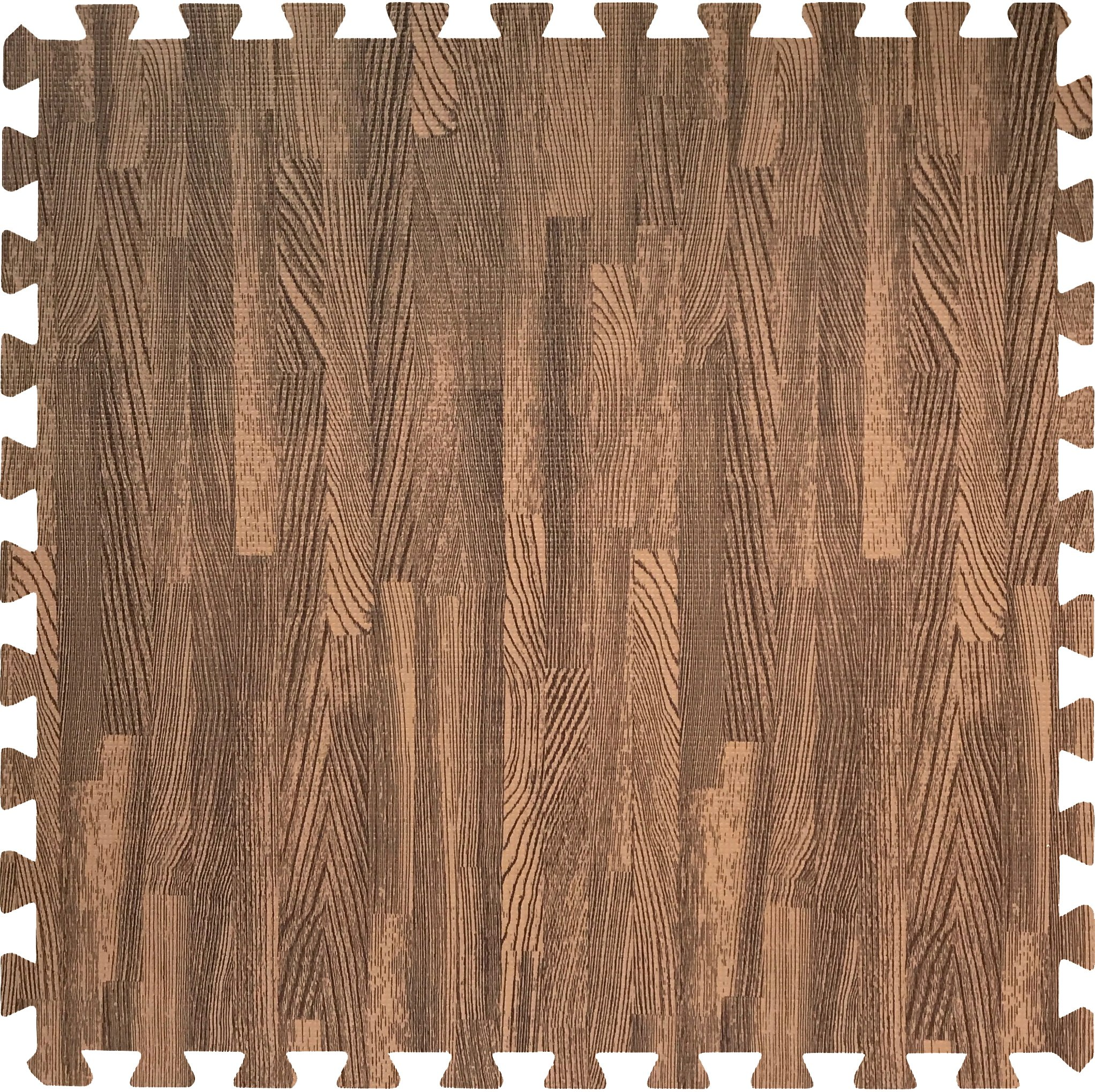 Sorbus Wood Floor Mats Foam Interlocking Wood Mats Each Tile 4 Square Feet 3/8-Inch Thick Puzzle Wood Tiles with Borders – for Home Office Playroom Basement (12 Tiles 48 Sq ft, Wood Grain - Dark) by Sorbus (Image #2)