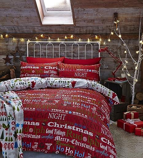 catherine lansfield christmas slogans single quiltset - Christmas Slogans