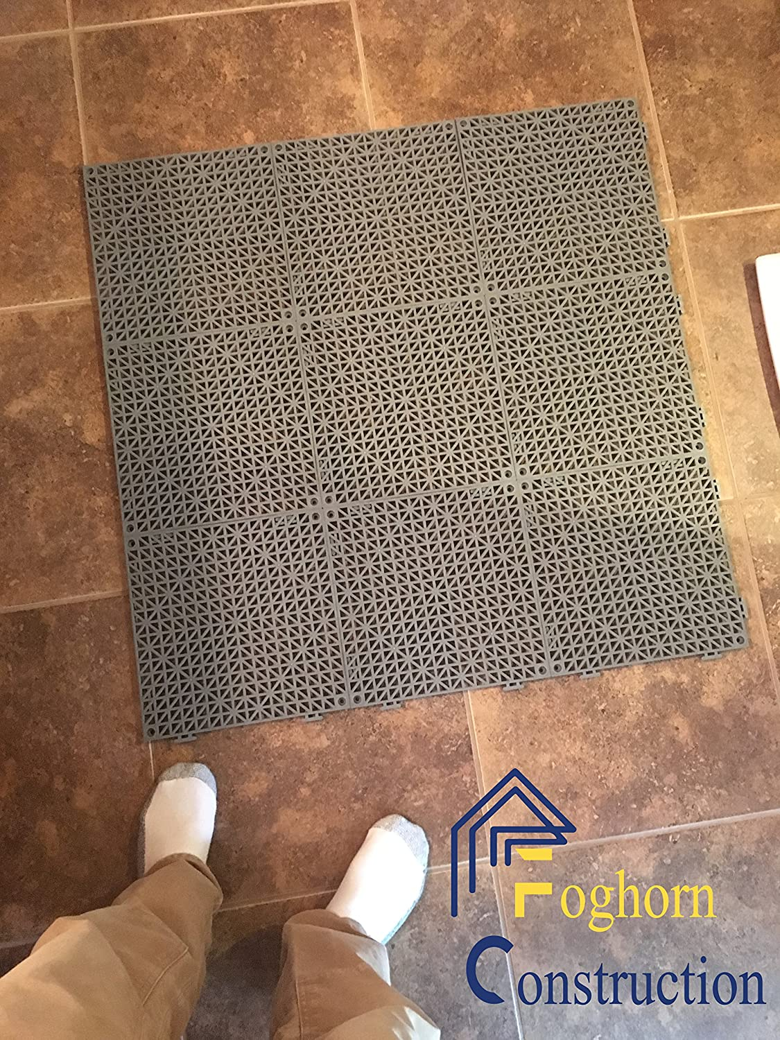 6 with tabs, 6 Without - Wet Areas Like Pool Shower Locker-Room Bathroom Deck Patio Garage Boat 4 Corners Non-Slip Tread - Can be Cut to fit Set 12 Black Edge Pieces