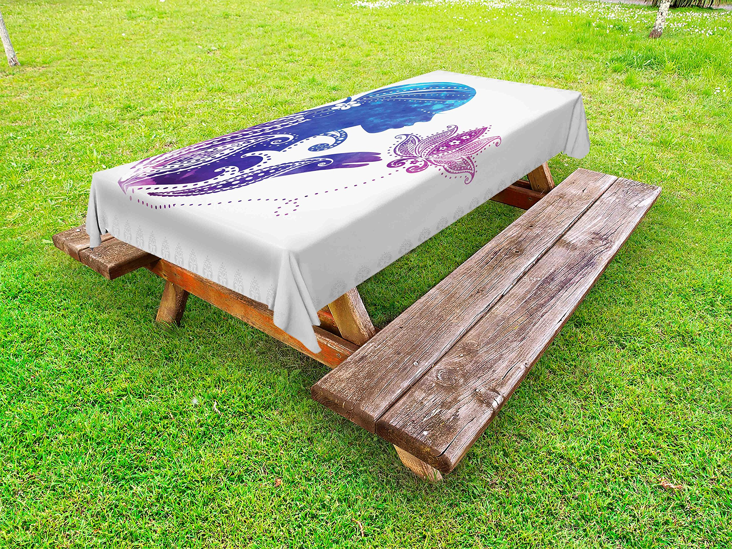 Ambesonne Teen Girls Outdoor Tablecloth, Girl's Silhouette with Flowers on Her Hair Floral Ornaments Meditation Spa Art, Decorative Washable Picnic Table Cloth, 58 X 120 inches, Purple Blue