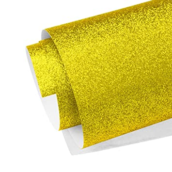 Gold Glitter Sparkle Vinyl Sheet A4 Metallic Flake Self Adhesive Crafts Wrapping