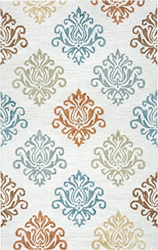 Rizzy Home Lancaster Collection Wool Area Rug, 9 x 12 , Multi Gold Rust Brown Khaki Blue Grey Ornamental