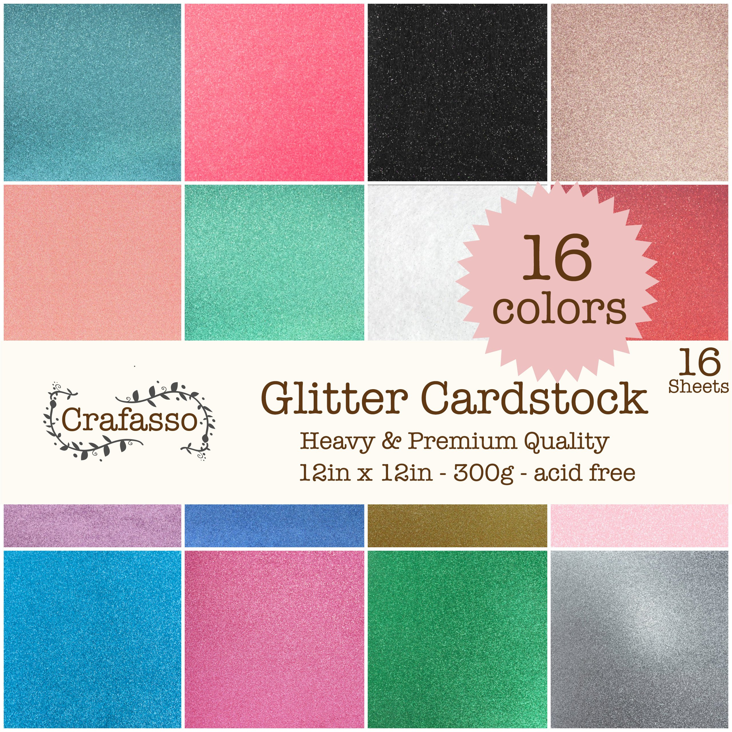 Crafasso 12'' x 12'' 300gms Heavy & Premium Glitter cardstock, 16 Sheets, 16 Colors by Crafasso