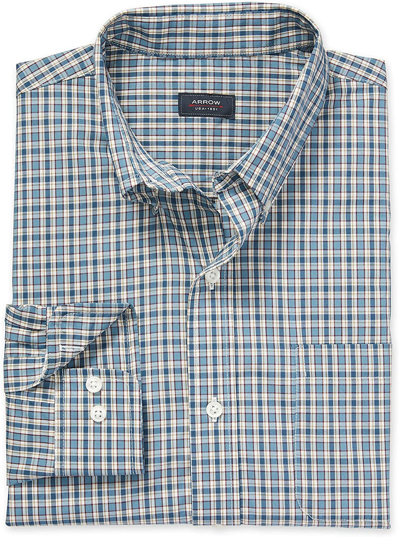 Arrow 1851 Mens Big and Tall Hamilton Poplins Long Sleeve Button Down Plaid Shirt