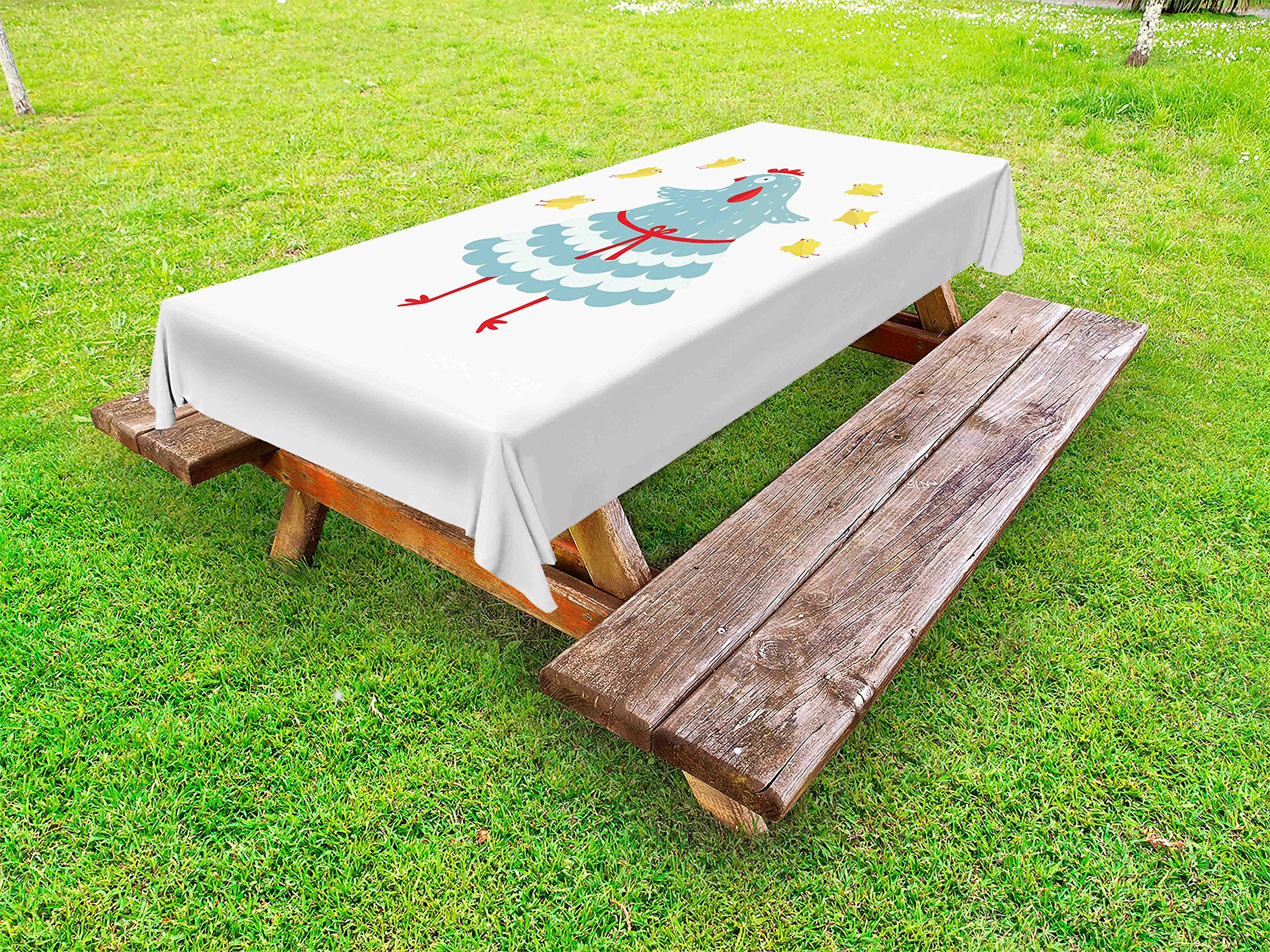 Lunarable Chicken Outdoor Tablecloth, Mother Hen Bird with Her Babies Domestic Doodle Animals Abstract Poultry Cartoon, Decorative Washable Picnic Table Cloth, 58 X 104 inches, Multicolor
