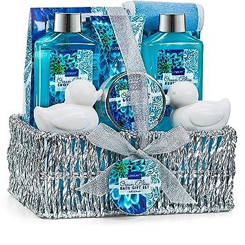 Home Spa Gift Basket in Heavenly Ocean Bliss Scent - 9 Piece Bath & Body Set